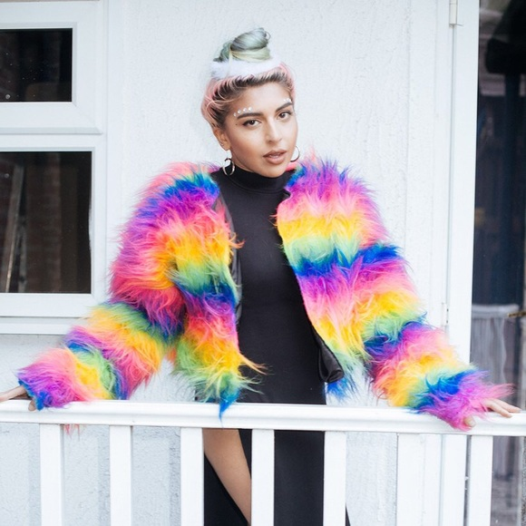 Jackets & Blazers - 🚫SOLD🚫 Rainbow Faux Fur Jacket